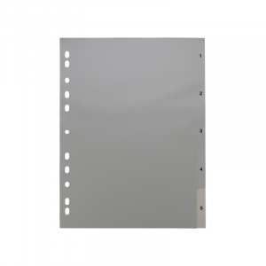 A4 Grey Dividers Numbered 1-5, dividers, grey dividers, a4 dividers, basic dividers, binder dividers