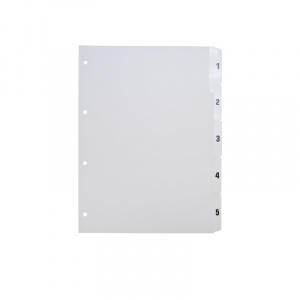A4 White Dividers Numbered 1-5, A4 grey dividers 15, 200115g, celsur plastics, Polypropylene, dividers, a4, a5, bespoke, template