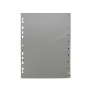 A4 Grey Dividers Numbered 1-10, dividers, grey dividers, a4 dividers, basic dividers, binder dividers