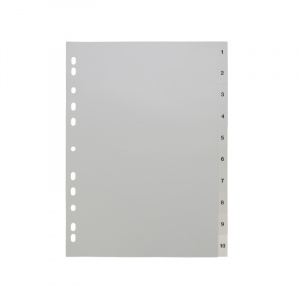 A4 White Dividers Numbered 1-10, A4 grey dividers 15, 200115g, celsur plastics, Polypropylene, dividers, a4, a5, bespoke, template, dividers, white dividers, a4 dividers, basic dividers, binder dividers