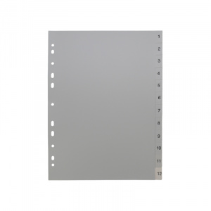 A4 Grey Dividers Numbered 1-12, dividers, grey dividers, a4 dividers, basic dividers, binder dividers