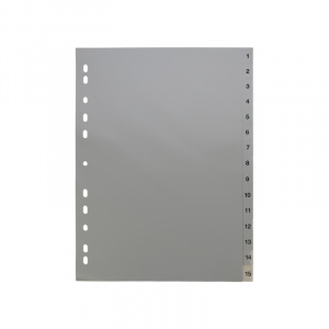 A4 Grey Dividers Numbered 1-15, dividers, grey dividers, a4 dividers, basic dividers, binder dividers