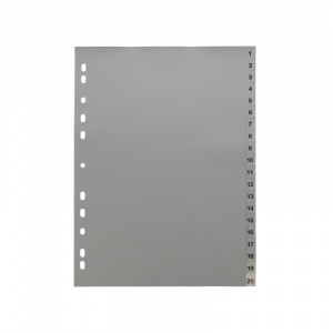 A4 Grey Dividers Numbered 1-20, dividers, grey dividers, a4 dividers, basic dividers, binder dividers
