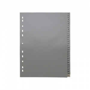 A4 Grey Dividers Numbered 1-31, dividers, grey dividers, a4 dividers, basic dividers, binder dividers