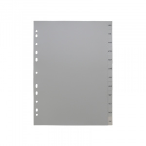 A4 Grey Dividers Printed Jan-Dec, dividers, grey dividers, a4 dividers, basic dividers, binder dividers