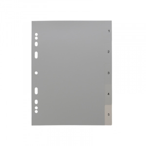 A5 Grey Dividers Numbered 1-5, A4 grey dividers 15, 200115g, celsur plastics, Polypropylene, dividers, a4, a5, bespoke, template, dividers, grey dividers, a5 dividers, basic dividers, binder dividers