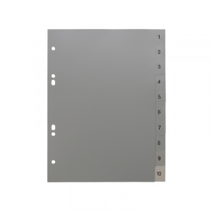 A5 Grey Dividers Numbered 1-10, A4 grey dividers 15, 200115g, celsur plastics, Polypropylene, dividers, a4, a5, bespoke, template, dividers, grey dividers, a5 dividers, basic dividers, binder dividers