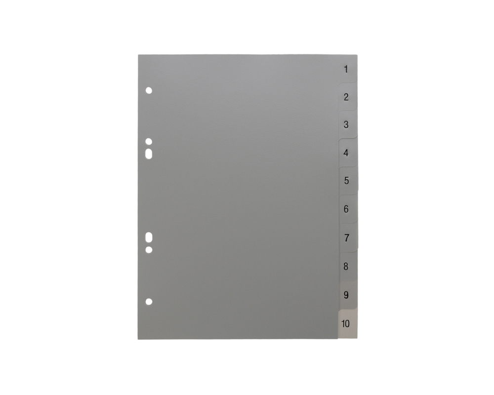 10 tab divider template - a5 grey dividers numbered 1 10 celsur plastics uk