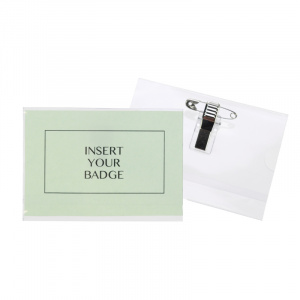 Small Conference Badge Holder - Dual Clip & Pin